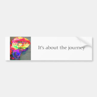 It's about the journey yellow poppy car bumper sticker