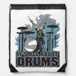 Its All About Drums Drummers Drawstring Backpack Cinch Bags