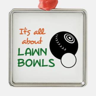 ITS ALL ABOUT LAWN BOWLS METAL ORNAMENT