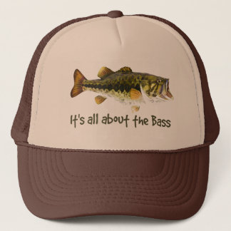 """""""It's all about the Bass"""" Fun Fisherman Quote Trucker Hat"""