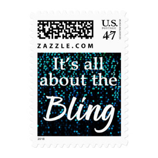 It's All About the Bling, Blue USPS Postage Stamps