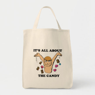 its all about the candy grocery tote bag