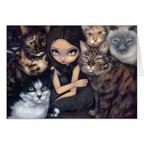art, cat, cats, kitties, kitty, rescue, animal, animals, pet, pets, maine coon, maine, coon, tortoiseshell, siamese, tuxedo, fantasy, eye, eyes, big eye, big eyed, jasmine, becket-griffith, becket, griffith, jasmine becket-griffith, jasmin, strangeling, artist, goth, gothic, fairy, gothic fairy, faery, fairies, faerie, fairie, lowbrow, low brow, Card with custom graphic design