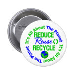 Its All About The Planet Reduce Reuse Recycle Pins