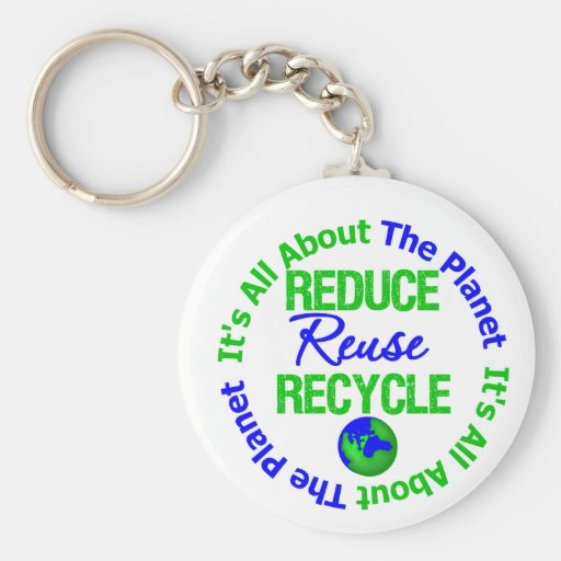 Its All About The Planet Reduce Reuse Recycle v1 Keychain