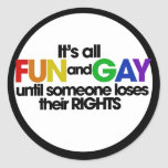 Its all fun and games classic round sticker