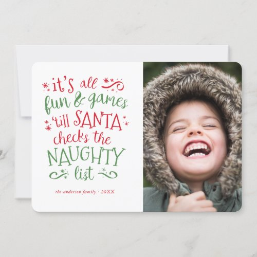 Its all fun and games Funny Holiday Photo Card