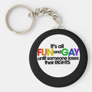 Its all fun and games basic round button keychain