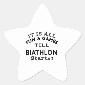 It's All Fun & Games Till Biathlon Starts Star Stickers