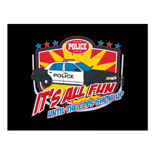 Its All Fun Police Postcard