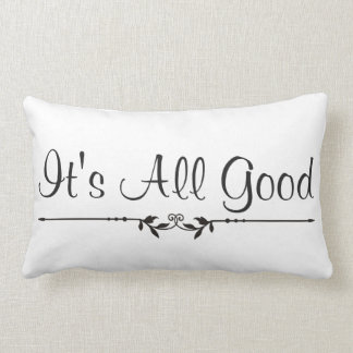 It's All Good Embellished Typography Lumbar Pillow