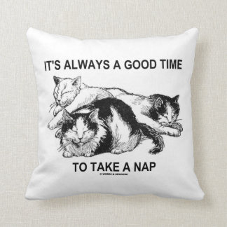It's Always A Good Time To Take A Nap (Three Cats) Throw Pillow