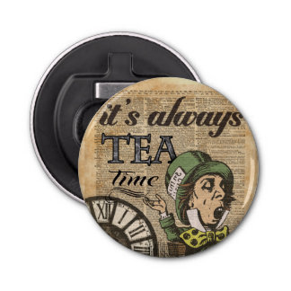 """It's always tea time"" Mad Hatter Dictionary Art Bottle Opener"