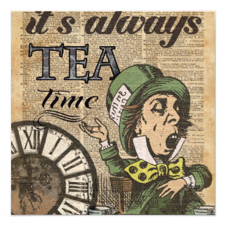 """""""It's always tea time"""" Mad Hatter Dictionary Art Card"""