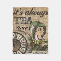 """""""It's always tea time"""" Mad Hatter Dictionary Art Fleece Blanket"""
