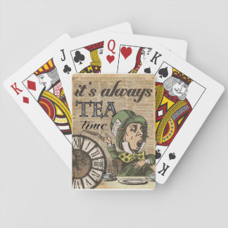 """It's always tea time"" Mad Hatter Dictionary Art Playing Cards"
