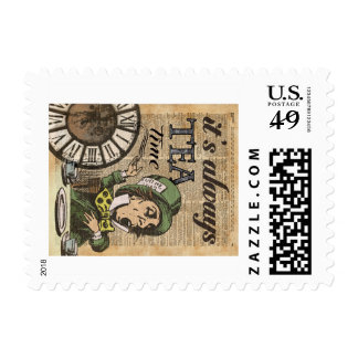 """""""It's always tea time"""" Mad Hatter Dictionary Art Postage"""