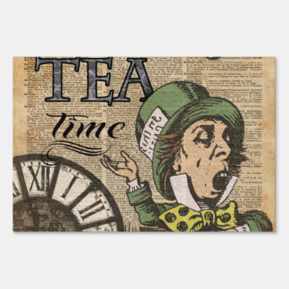 """It's always tea time"" Mad Hatter Dictionary Art Sign"