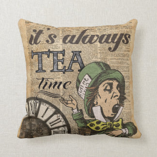 """""""It's always tea time"""" Mad Hatter Dictionary Art Throw Pillow"""