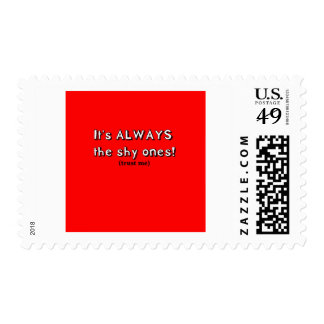 It's always the shy ones postage stamp