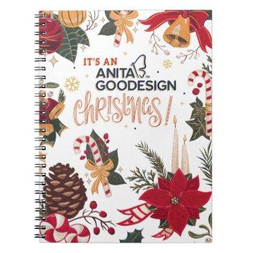 Christmas Themed It's an Anita Goodesign Christmas Notebook! Spiral Notebook