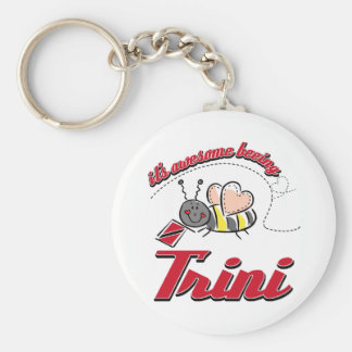 It's awesome beeing Trini Basic Round Button Keychain