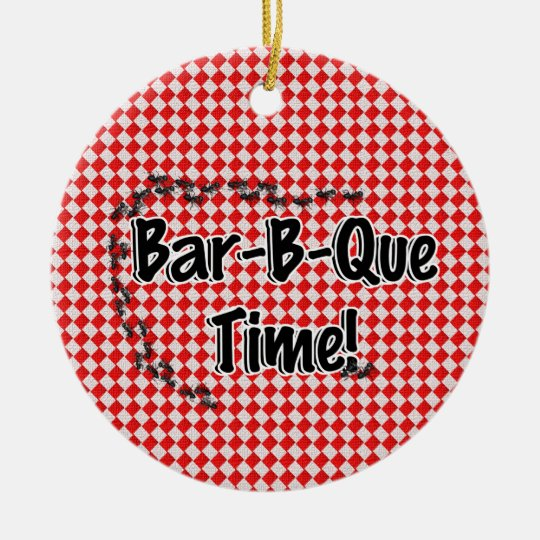 It's BBQ Time! Red Checkered Table Cloth w/Ants Ceramic Ornament