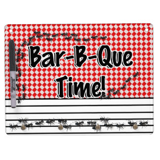 It's BBQ Time! Red Checkered Table Cloth w/Ants Dry Erase Board With Keychain Holder
