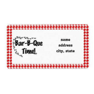 It's BBQ Time! Red Checkered Table Cloth w/Ants Shipping Labels