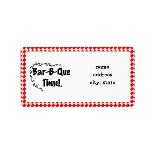 It's BBQ Time! Red Checkered Table Cloth w/Ants Address Label