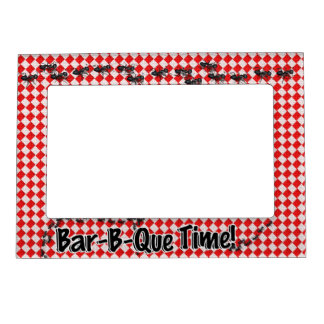 It's BBQ Time! Red Checkered Table Cloth w/Ants Magnetic Photo Frame