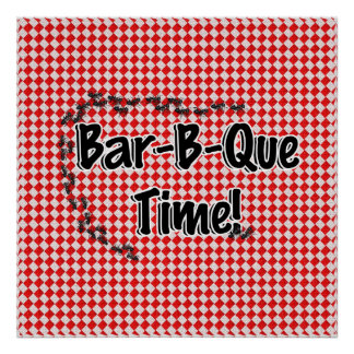 It's BBQ Time! Red Checkered Table Cloth w/Ants Poster