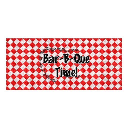 It's BBQ Time! Red Checkered Table Cloth w/Ants Rack Card Template