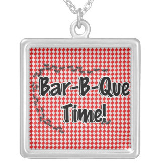 It's BBQ Time! Red Checkered Table Cloth w/Ants Silver Plated Necklace
