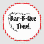 It's BBQ Time! Red Checkered Table Cloth w/Ants Classic Round Sticker