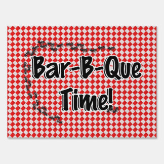 It's BBQ Time! Red Checkered Table Cloth w/Ants Yard Sign