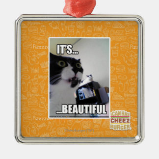 It's Beautiful Square Metal Christmas Ornament