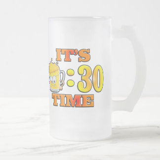 It's Beer:30 Time Frosted Glass Beer Mug