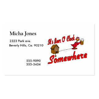 It's Beer O Clock Somewhere Double-Sided Standard Business Cards (Pack Of 100)