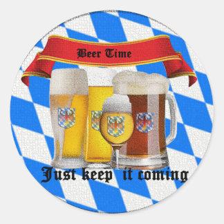 it's beer time round sticker