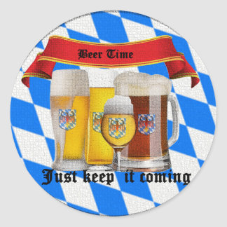 it's beer time classic round sticker