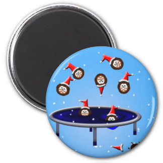 its choliday time trampolining christmas hedgehogs magnet
