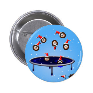 its choliday time trampolining christmas hedgehogs pinback button