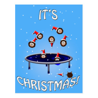 its choliday time trampolining christmas hedgehogs postcard