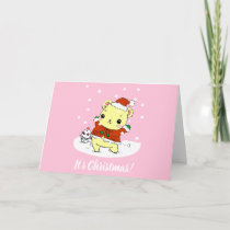 It's Christmas - Cute pink hamster Card
