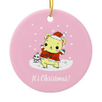 It's Christmas - Cute pink hamster Ceramic Ornament