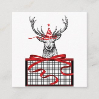It's Christmas Deer Black White Holiday Card