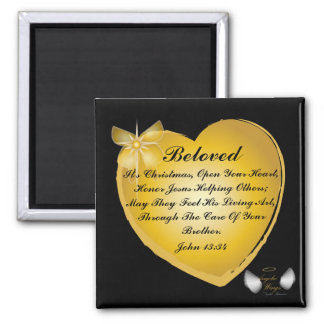 It's Christmas, Open Your Heart-Customize 2 Inch Square Magnet