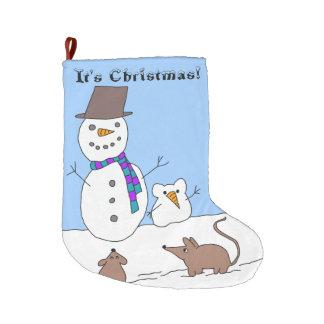 It's Christmas! Snow rats Christmas stocking Large Christmas Stocking