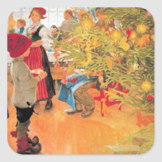 It's Christmas Time Again - Boy Looking at Tree Square Sticker